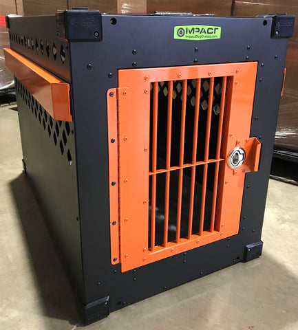 custom black and orange dog crate