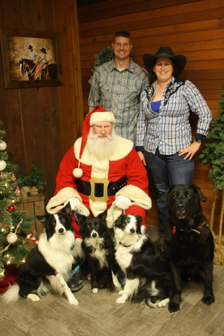 family and dogs santa photo