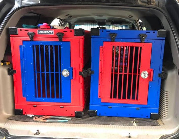 red and blue collapsible dog crates