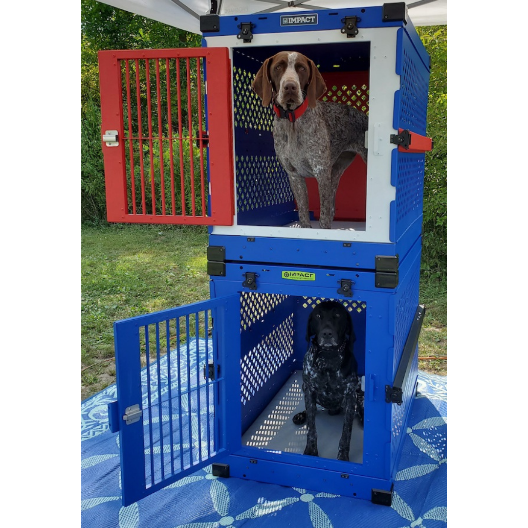 red white blue dog crates
