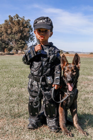 boy and dog swat costume