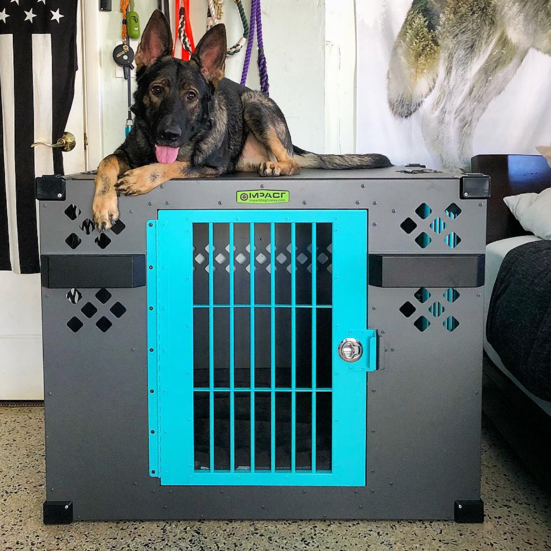 gray and teal impact crate