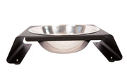 single aluminum dog bowl stand black with stainless steel bowl side view