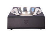 black aluminum dog bowl stand with single stainless steel bowl front view impact logo