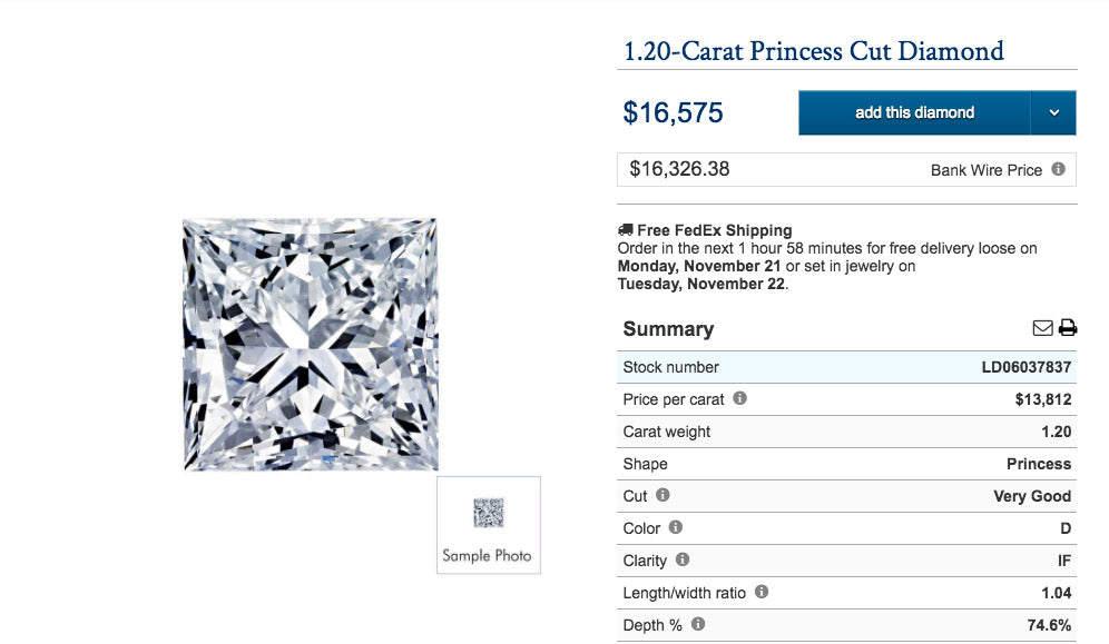 1.20 carat princess cut earth mined diamond