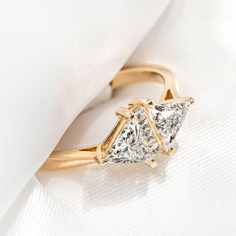 triangle diamond engagement ring