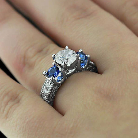 Alice Three Stone Ring with Lab-Created Blue Sapphires