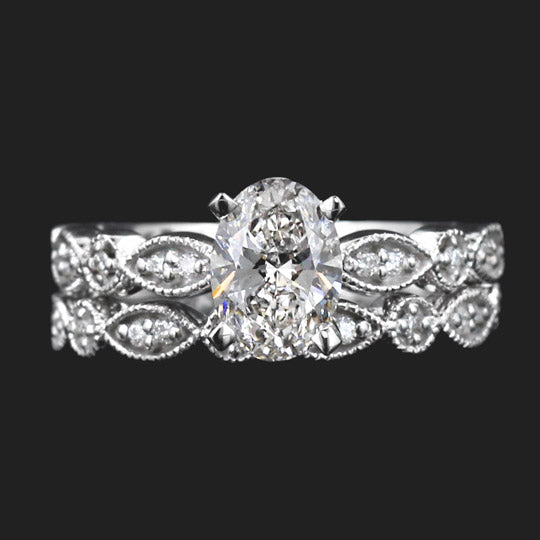 Amore Wedding Set with Oval Cut Lab Grown Diamond