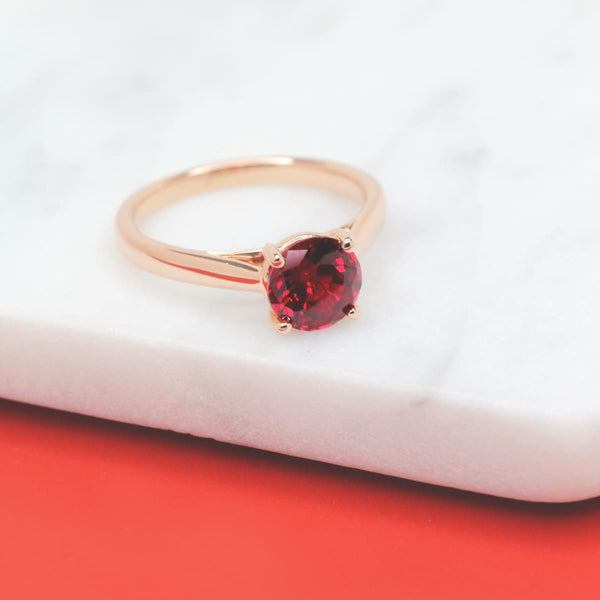 Blonde Solitaire Ruby Engagement Ring
