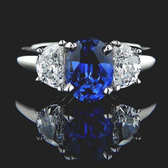 Celestial Three Stone Engagement Ring with a Blue Sapphire Lab Created Gemstone