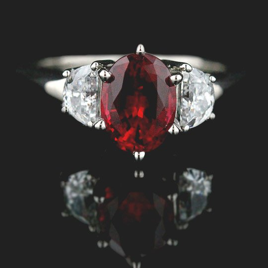 Celestial Three Stone Engagement Ring with Ruby