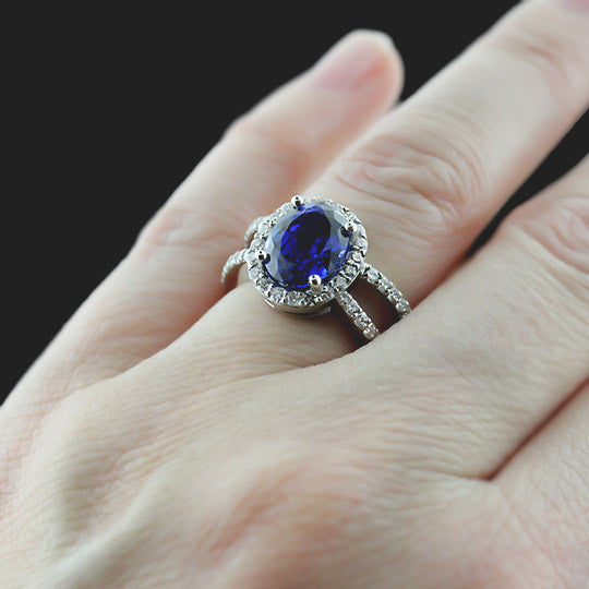 Coco Engagement Ring with Blue Sapphire Lab-Created Gemstone