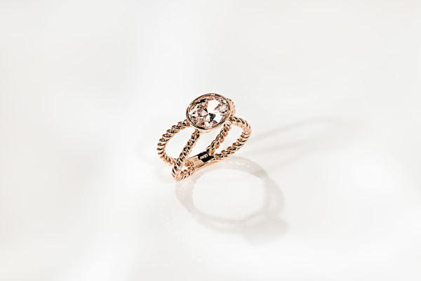 Custom Rose Gold Diamond Hybrid Engagement Ring