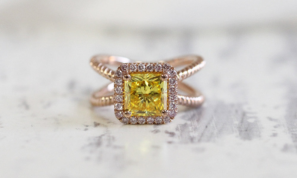 Custom Yellow Lab-Created Diamond Engagement Ring
