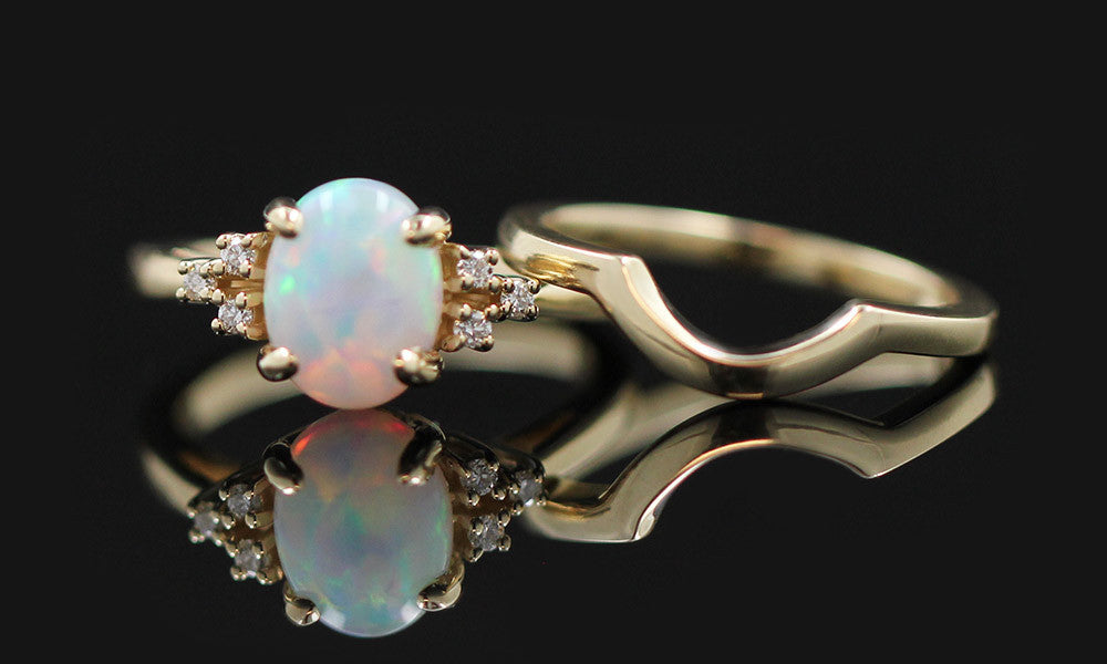 Custom Opal Wedding Set