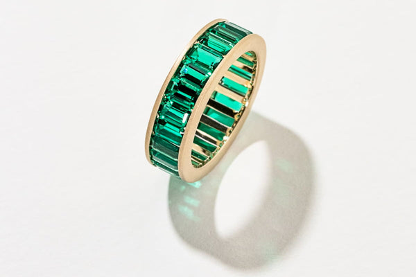 Custom Lab-Grown Emerald Gemstone Wedding Band