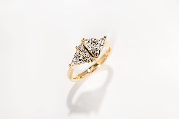 Custom MiaDonna Yellow Gold Triangle Engagement Ring