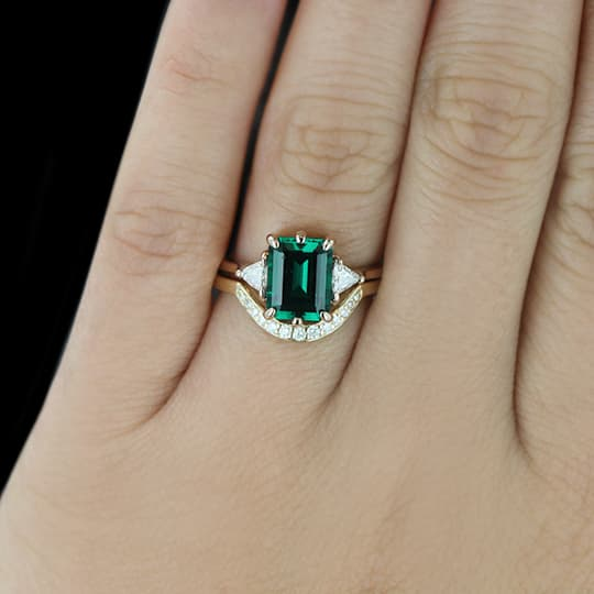 Custom MiaDonna Emerald Engagement Ring