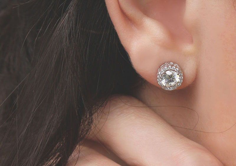 Diamond Filigree Halo Stud Earrings