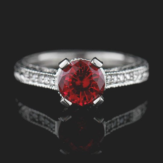 Ella Antique Engagement Ring with Red Created Ruby