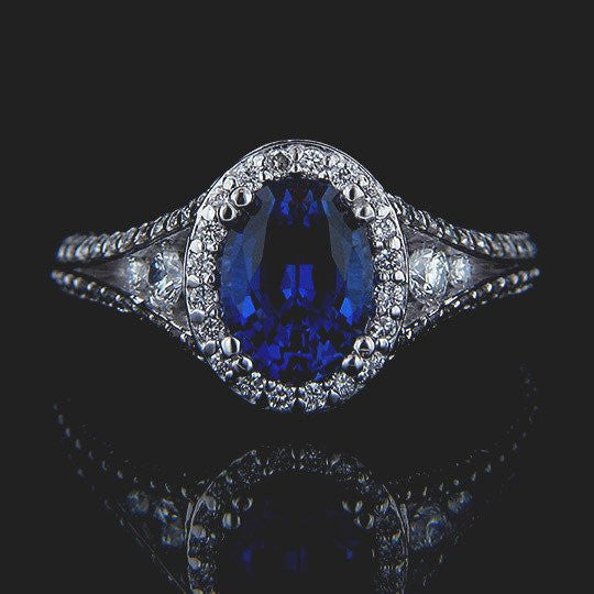 Empress Engagement Ring with a Blue Lab-Grown Sapphire