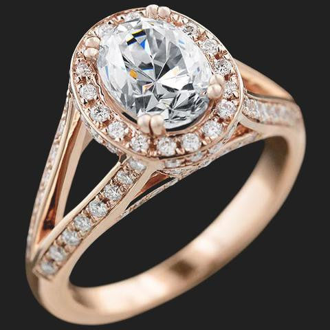 Rose Gold and Oval Vintage Engagement Ring