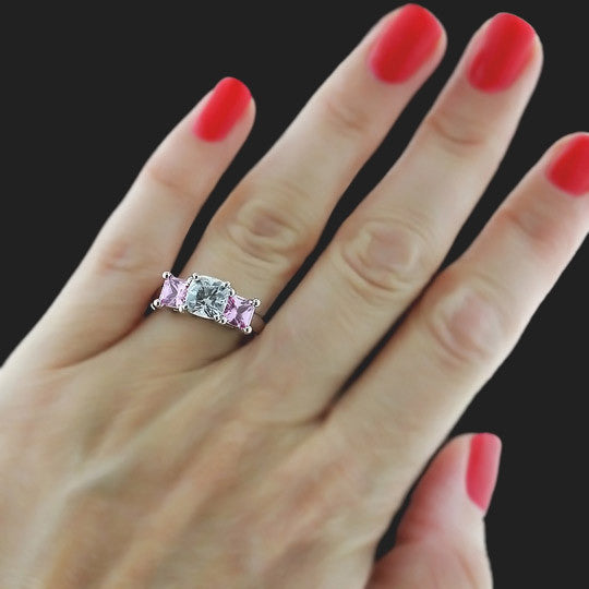 Happy Three Stone Engagement Ring with Lab-Created Pink Sapphire