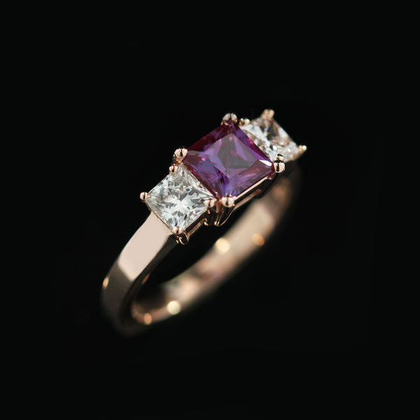 Flame Engagement Ring 0.56ct Round Cut Lab Created Diamond