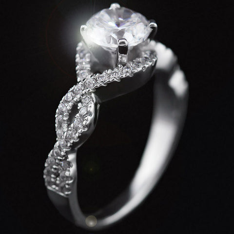 ∞ The Infinity Engagement Ring ∞ Halo style wrapped infinity shape