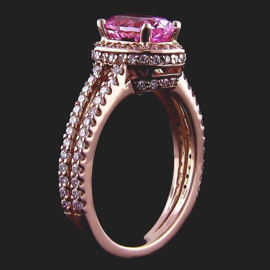 Kenya Accented Engagement Ring with Pink Lab-Created Sapphire