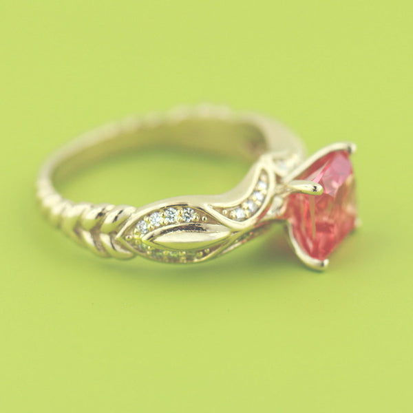 Lab Created Padparadscha Engagement Ring