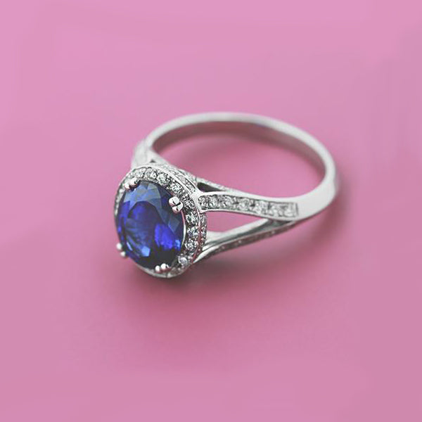 Lab-Created Blue Sapphire Engagement Ring