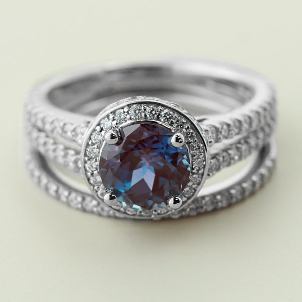 Lab Created Alexandrite Engagement Ring