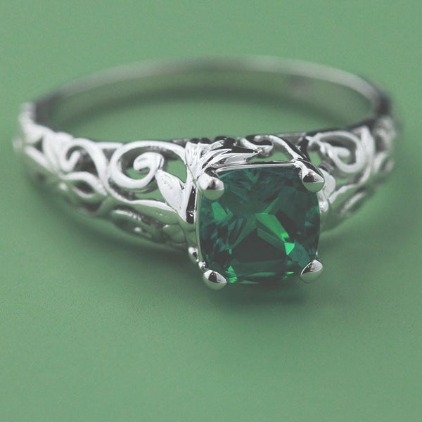 Lab Created Emerald Engagement Ring