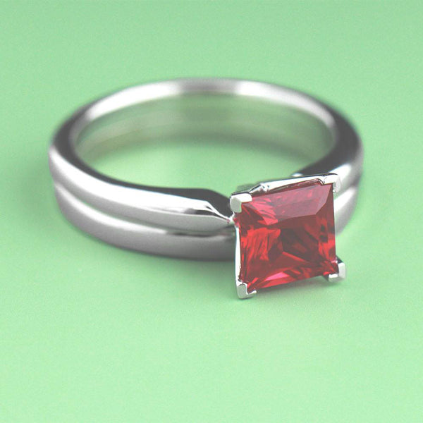 Lab Created Red Ruby Engagement Ring