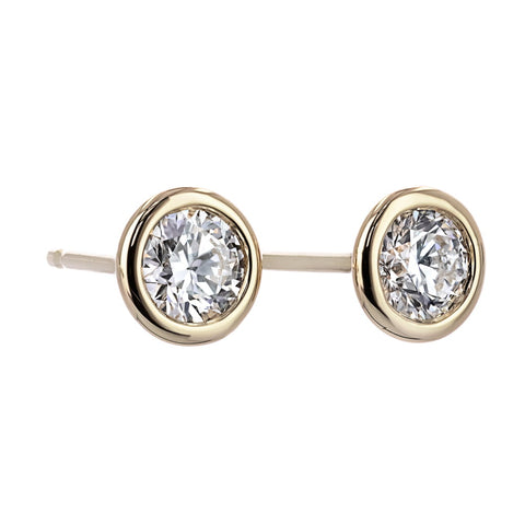 lab grown diamond bezel stud earrings