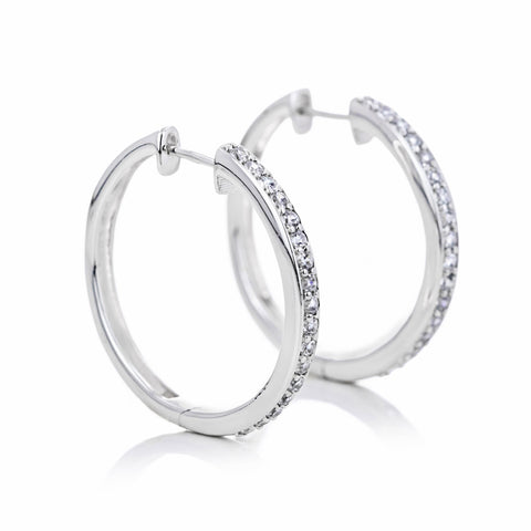 lab grown diamond channel hoops
