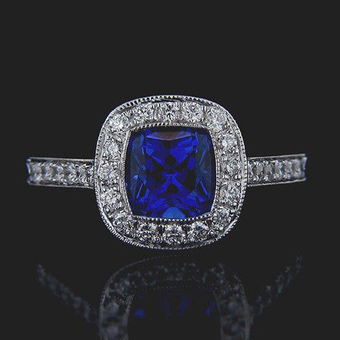 Blue Sapphire vintage engagement ring