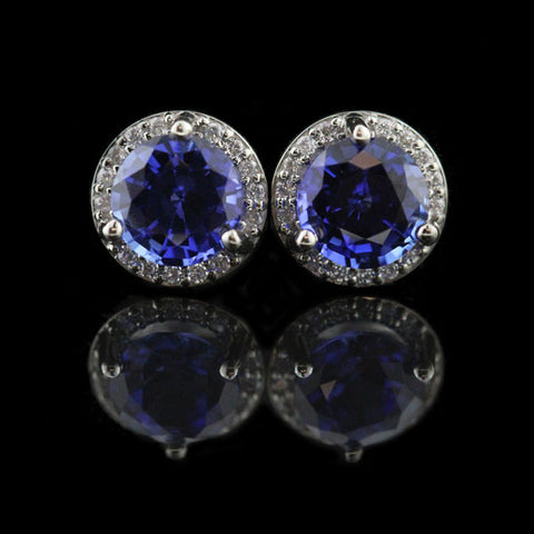 Martini Halo Earrings with Lab-Grown Blue Sapphire
