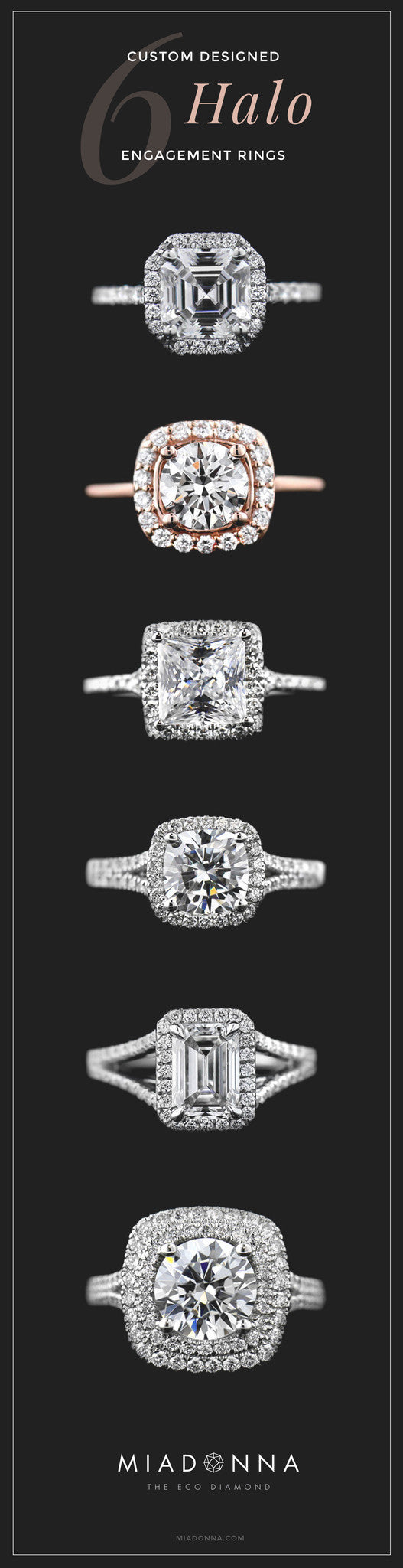 Six custom designed halo engagement rings