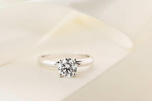 traditional solitaire lab grown diamond engagement ring