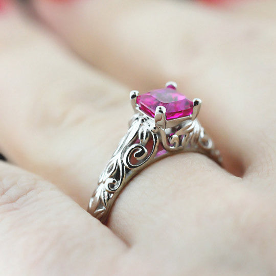 Tory Solitaire Vintage Engagement Ring with Pink Lab-Created Sapphire Gemstone