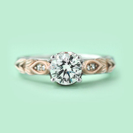two tone engagement rings