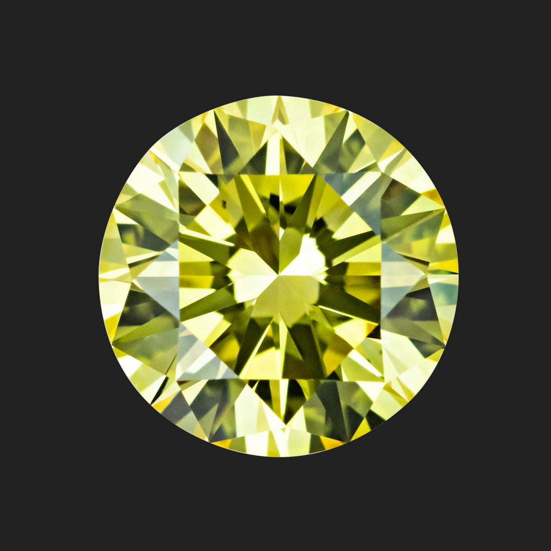 1.36 Carat Round Cut Fancy Intense Yellow Lab Created Diamond