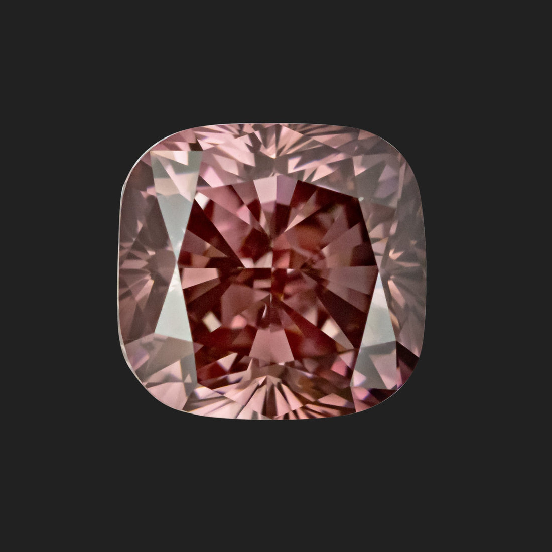1.36 Carat Cushion Cut Fancy Dark Pink Lab Created Diamond