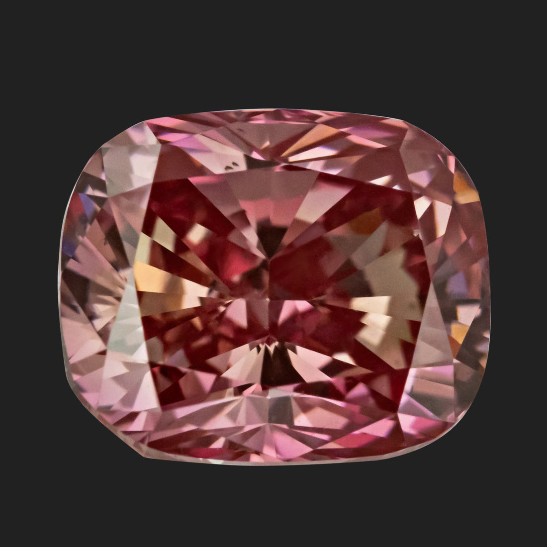 1.30 Carat Cushion Cut Fancy Vivid Orangy Pink Lab Created Diamond
