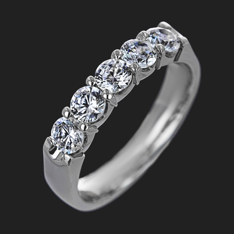 5 Stone Lab Grown Diamond Band 1.0ctw 14KW