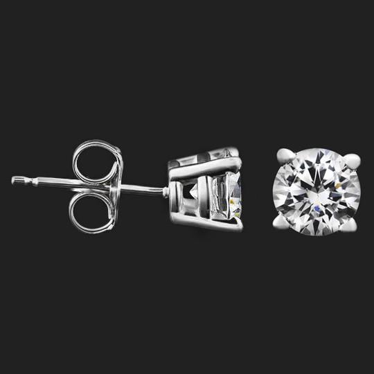 Shown with two 0.50ct (1.0ctw) Round cut Diamond Hybrids® in 14KW, 4 prong|two 0.50ct (1.0ctw) Round cut Diamond Hybrids® in 14KW