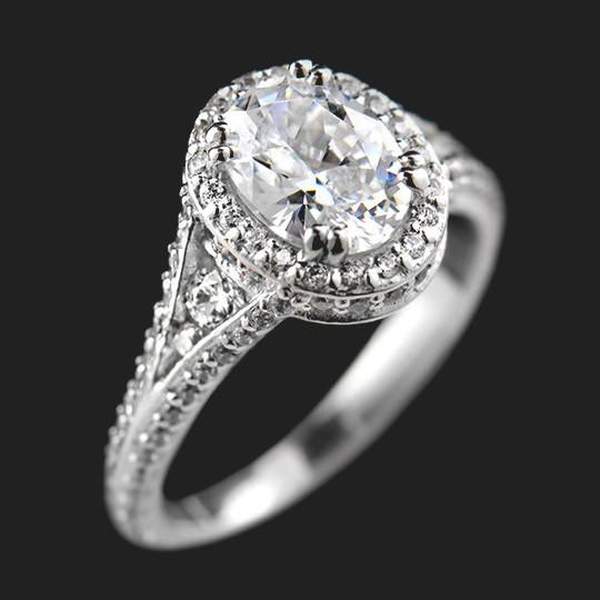 Empress Antique Engagement Ring shown with a 1.25ct Oval cut in Platinum|1.25ct Oval cut in Platinum