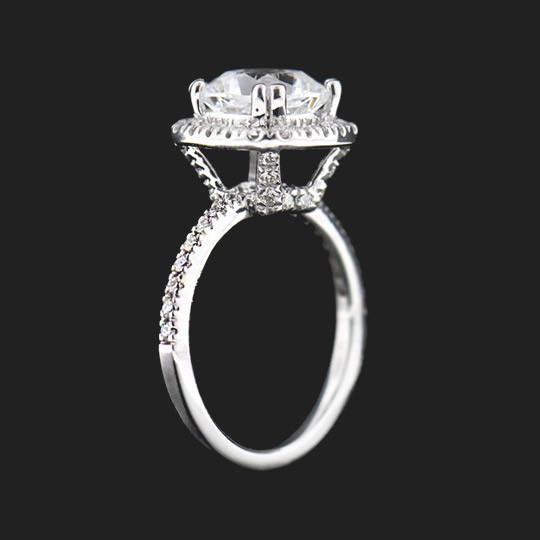 Shown with a 2.0ct Cushion cut in Platinum|2.0ct Cushion cut in Platinum